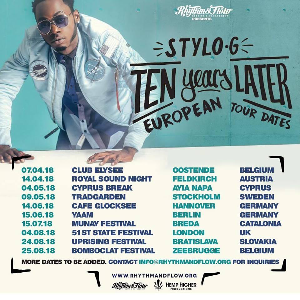 TEN YEARS LATER EUROPEAN TOUR DATES